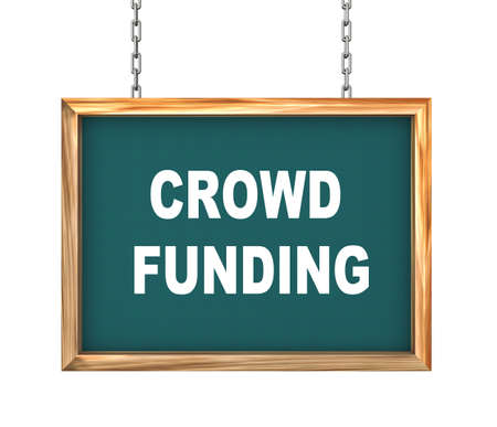 crowd sourcing: 3d rendering of hanging wooden signboard banner of concept of crowd funding