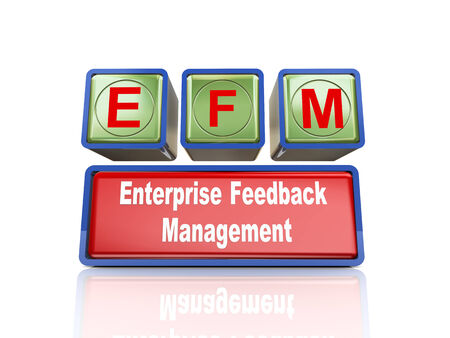 buzzword: 3d rendering of reflective boxes buzzword efm - enterprise feedback management Stock Photo