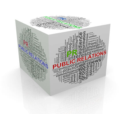 3d rendering of cube box of wordcloud word tags of pr - public relations photo