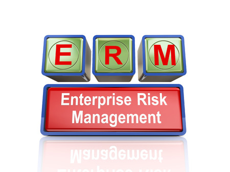 3d rendering of reflective boxes buzzword erm - enterprise risk management