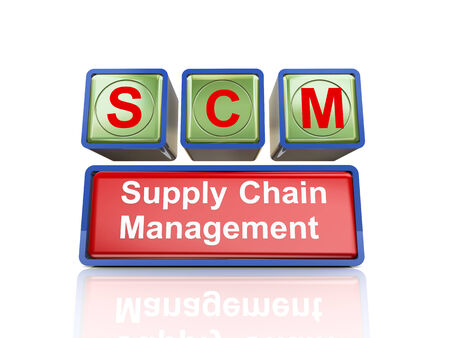 scm: 3d rendering of reflective boxes buzzword scm - supply chain management