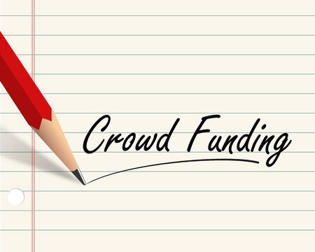 crowd sourcing: Illustration of pencil and paper written with word crowd funding