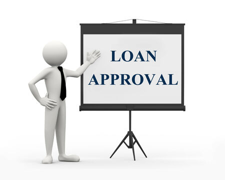 authorized: 3d rendering of business person with tripod projector screen presenting concept of loan approval. 3d white people man character Stock Photo