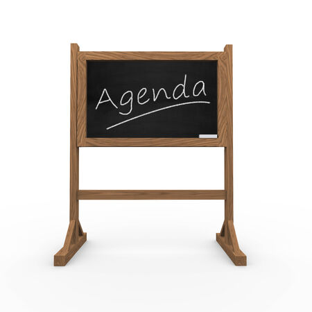 written text: 3d rendering of black chalkboard presentation of concept of agenda