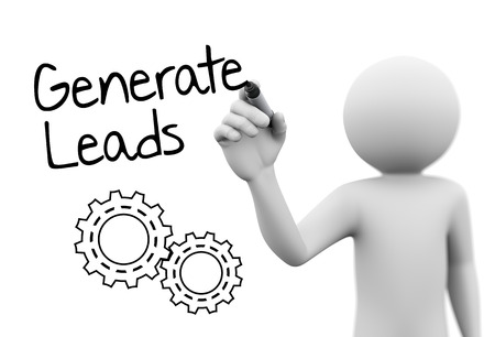 referrals: leads concept with gears sketch  on transparent glass screen. 3d white people character