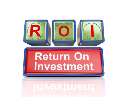 buzzword: 3d rendering of reflective boxes buzzword  roi - return on investment Stock Photo