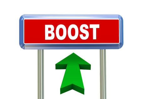 3d rendering of moving arrow and roadsign singpost of of concept of boost
