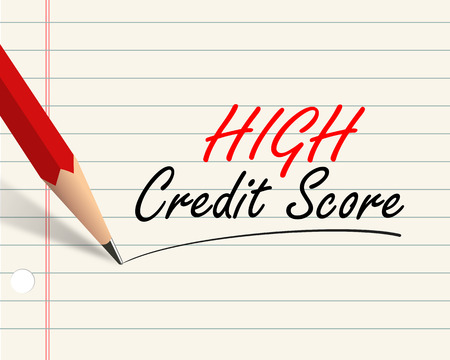 Illustration of pencil and paper written with word high credit score illustration