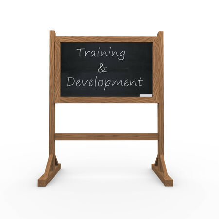 3d rendering of black chalkboard presentation of concept of training and development photo
