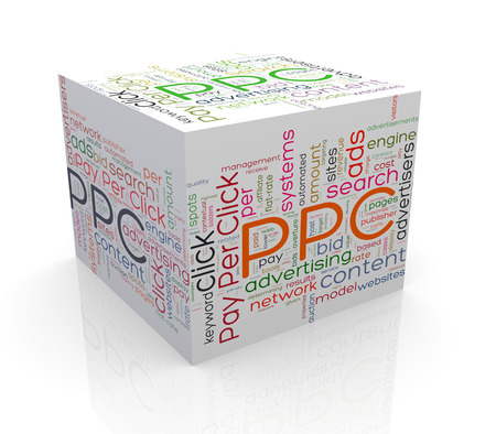 cpc: 3d rendering of cube box of wordcloud word tags of ppc - pay per click Stock Photo