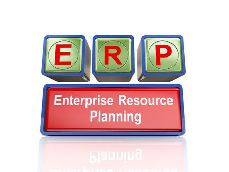 erp: 3d rendering of reflective boxes buzzword erp - enterprise resource planning
