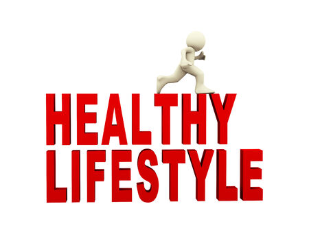 3d rendering of person running on text healthy lifestyle. 3d white people man character photo