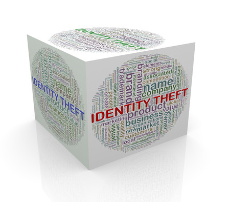 3d rendering of cube box of wordcloud word tags of identity theft photo