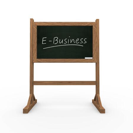 ebusiness: 3d rendering of black chalkboard presentation of concept of ebusiness