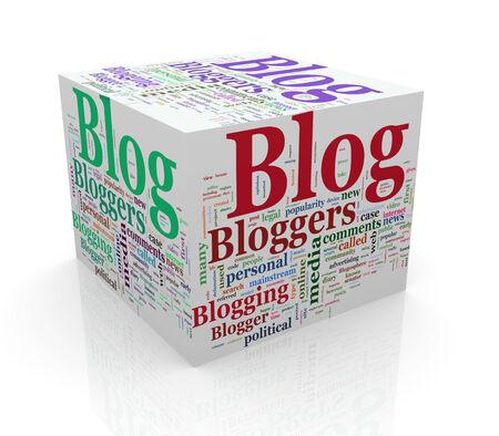 3d rendering of cube box of wordcloud word tags of blog