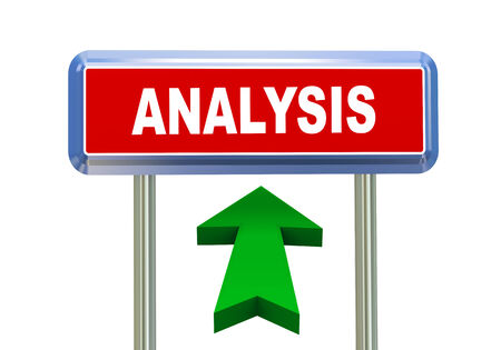 critique: 3d rendering of moving arrow and roadsign signpost of concept of analysis Stock Photo