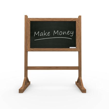 3d rendering of black chalkboard presentation of concept of make money photo
