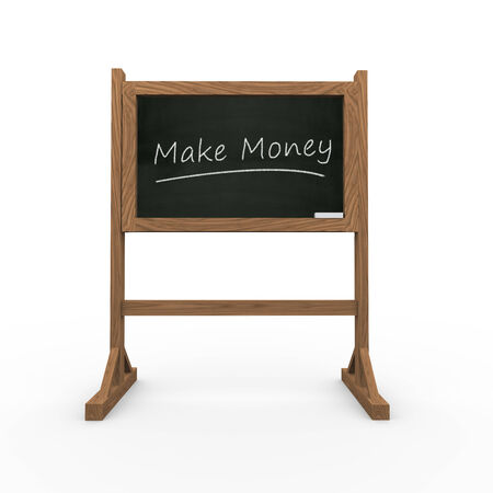 3d rendering of black chalkboard presentation of concept of make money photo