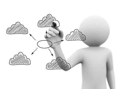 3d rendering of man drawing sketch of cloud computing network concept with marker on transparent glass screen. photo