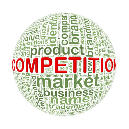 advantages: Illustration of word tags wordcloud ball sphere of competition