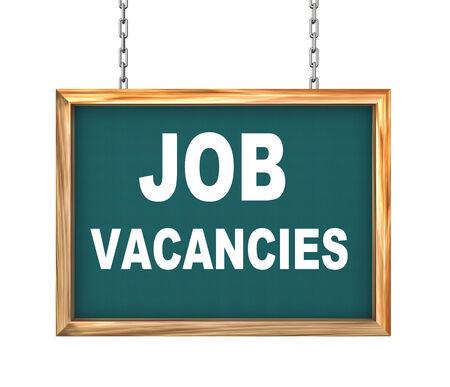 vacancies: 3d rendering of hanging wooden signboard banner of concept of job vacancies