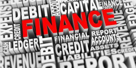 3d render of word tags wordcloud of concept of finance photo