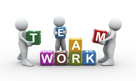 3d rendering of people placing team work text cubes. 3d white people man character photo