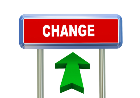 transmutation: 3d rendering of moving arrow and roadsign signpost of concept of change