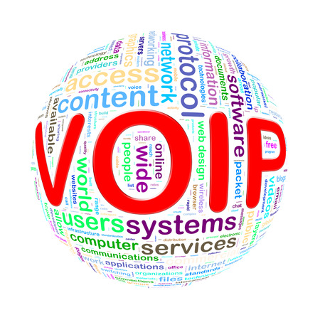 telephony: Illustration of word tags wordcloud ball sphere of voip - voice over ip