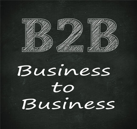 b2e: Illustration design of concept of b2b - business to business on black chalkboard Stock Photo