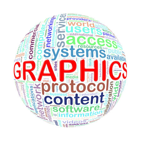 Illustration of word tags wordcloud ball sphere of graphics illustration