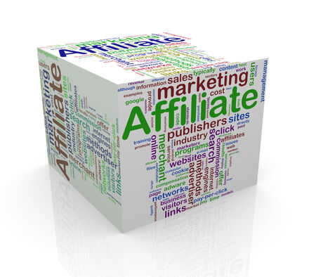 3d rendering of cube box of wordcloud word tags of affiliate marketing photo