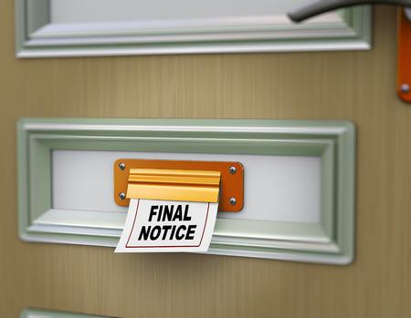 3d rendering of final notice arriving from door letter slot photo