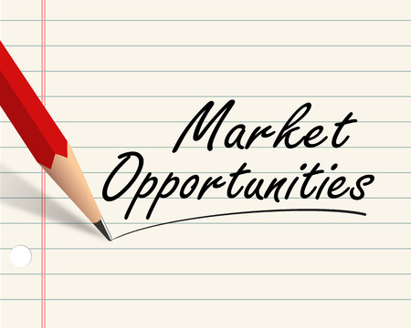 Illustration of pencil and paper written with word market opportunities