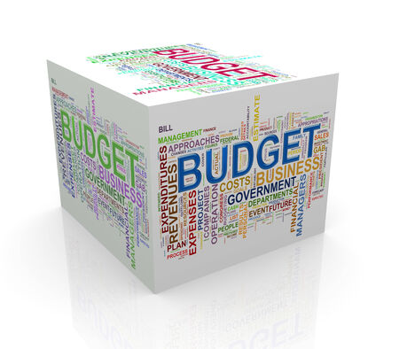 3d rendering of cube box of wordcloud word tags of budget