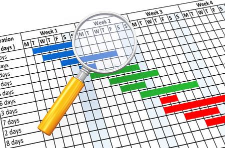 돋보기 및 프로젝트 간트 진행 차트 시트의 3d 렌더링 스톡 콘텐츠