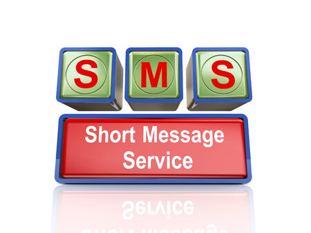 short message service: 3d rendering of reflective boxes buzzword sms -  short message service