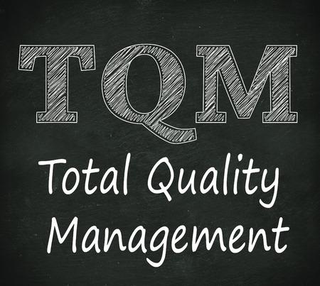 quality management: Illustration design of concept of tqm  - total quality management on black chalkboard