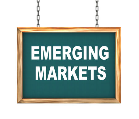 global market: 3d rendering of hanging wooden signboard banner of concept of emerging markets Stock Photo