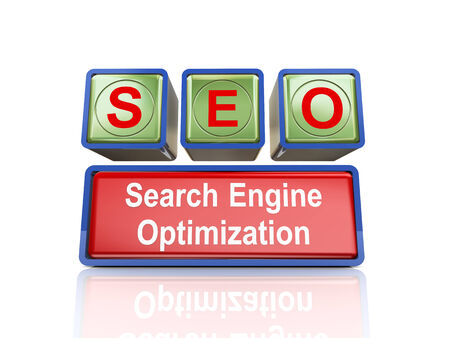 search engine optimized: 3d rendering of reflective boxes buzzword seo - search engine optimization