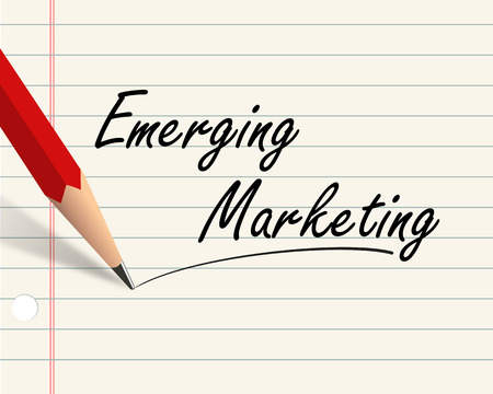 Illustration of pencil and paper written with word emerging market