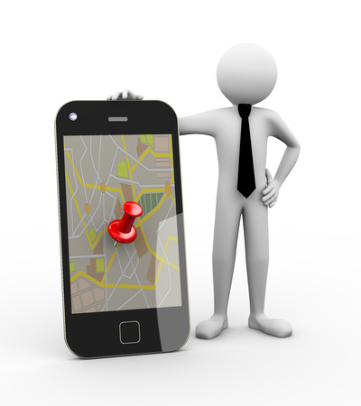 tour guide: 3d rendering of business person with smart phone mobile device showing thumbtack on gps map. 3d white people man character Stock Photo