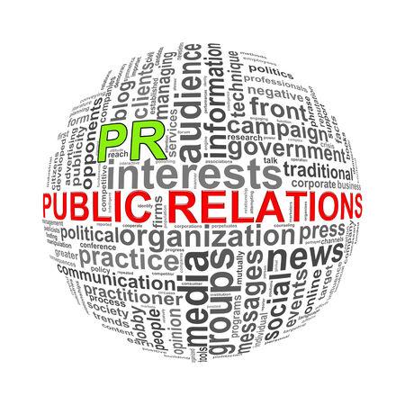 relaciones publicas: Ilustración de etiquetas de palabra wordcloud bola esfera de las relaciones públicas