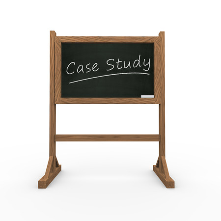 3d rendering of black chalkboard presentation of concept of case study photo