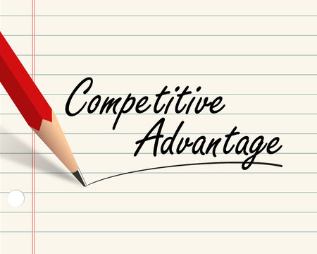 lower value: Illustration of pencil and paper written with word competitive advantage