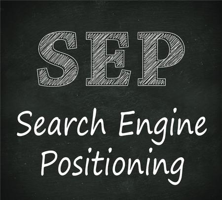 sep: Illustration design of concept of sep - search engine positioning  on black chalkboard