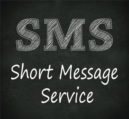 short message service: Illustration design of concept of sms -  short message service on black chalkboard