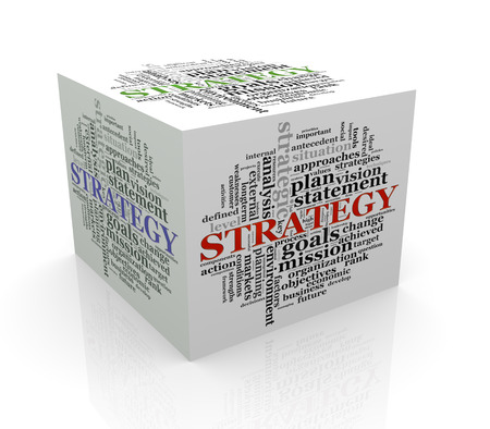 3d rendering of cube box of wordcloud word tags of strategy photo
