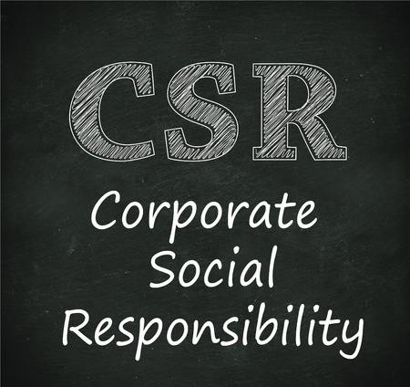 csr: Ilustraci�n de dise�o de concepto de RSE - Responsabilidad social de las empresas en el pizarr�n negro