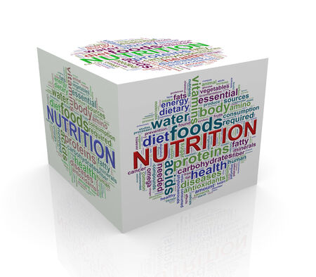 necessary: 3d rendering of cube box of wordcloud word tags of nutrition Stock Photo